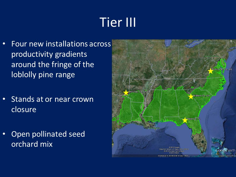 Tier III Four new installations across productivity gradients around the fringe of the loblolly pine range.