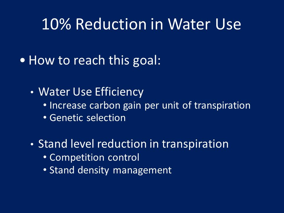 10% Reduction in Water Use
