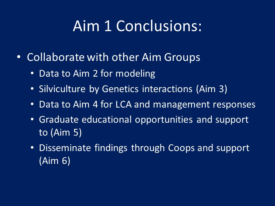 Aim 1 Conclusions: Collaborate with other Aim Groups