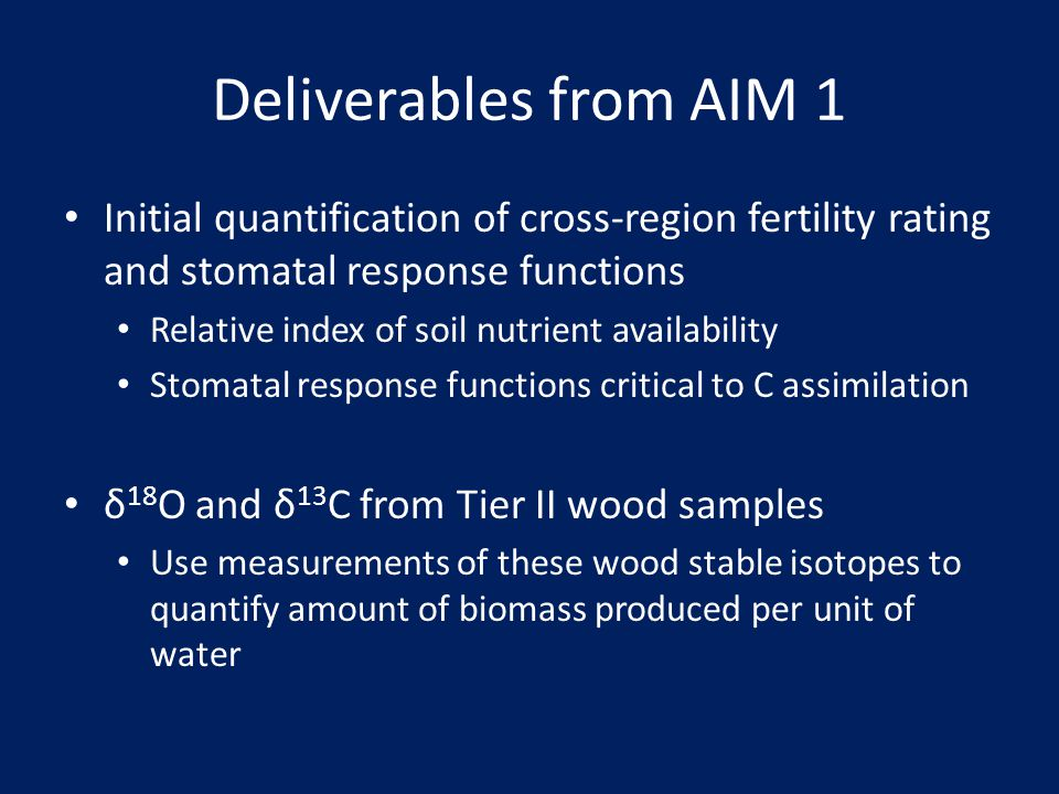 Deliverables from AIM 1 Initial quantification of cross-region fertility rating and stomatal response functions.