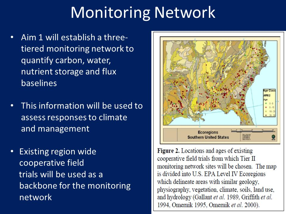 Monitoring Network Aim 1 will establish a three-tiered monitoring network to quantify carbon, water, nutrient storage and flux baselines.
