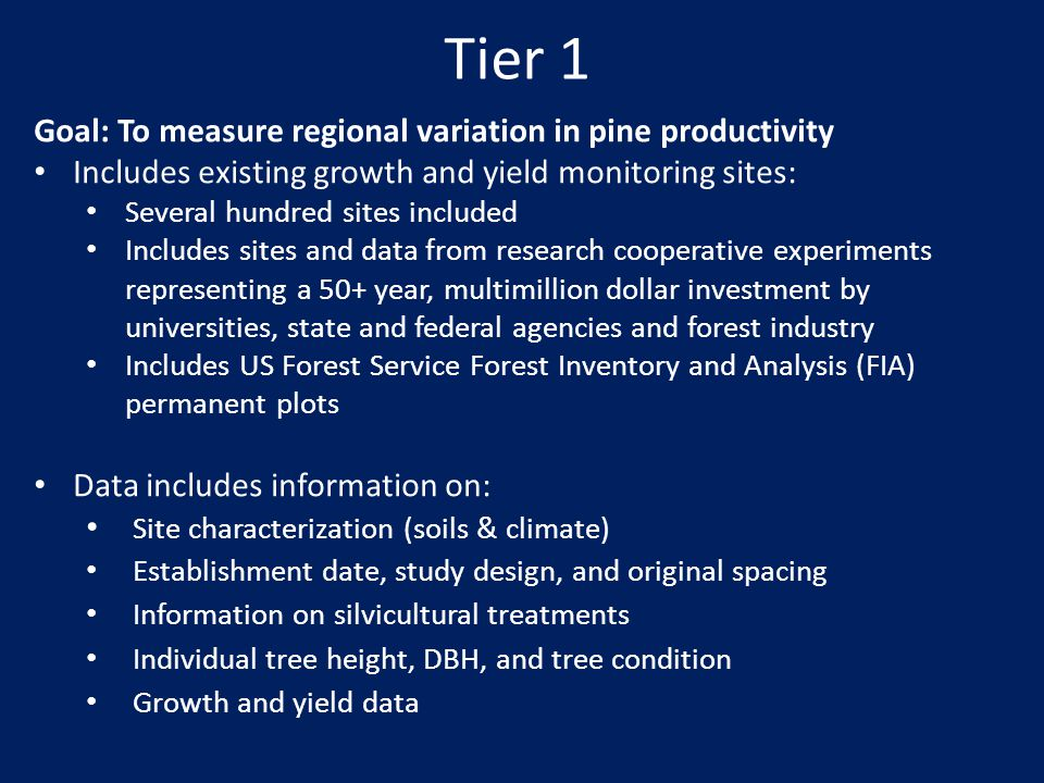 Tier 1 Goal: To measure regional variation in pine productivity