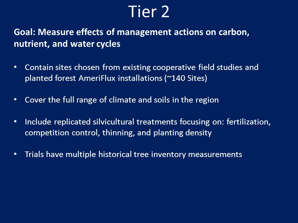 Tier 2 Goal: Measure effects of management actions on carbon, nutrient, and water cycles.