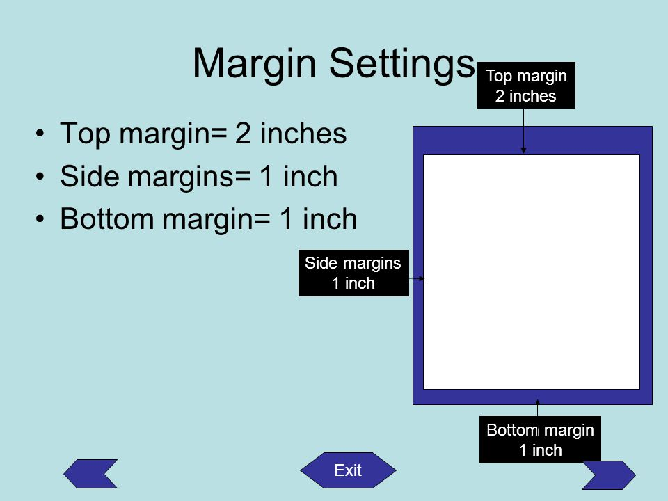 Margin Settings Top margin= 2 inches Side margins= 1 inch