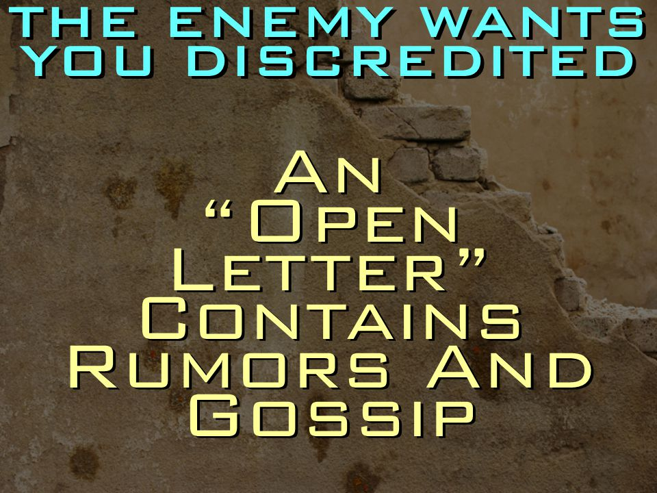 An Open Letter Contains Rumors And Gossip