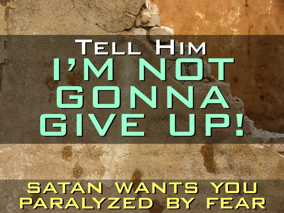 Tell Him I'M NOT GONNA GIVE UP!