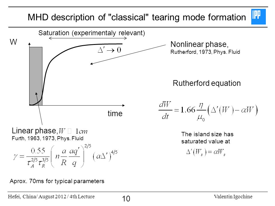 MHD description of classical tearing mode formation