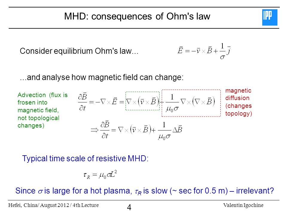 MHD: consequences of Ohm s law