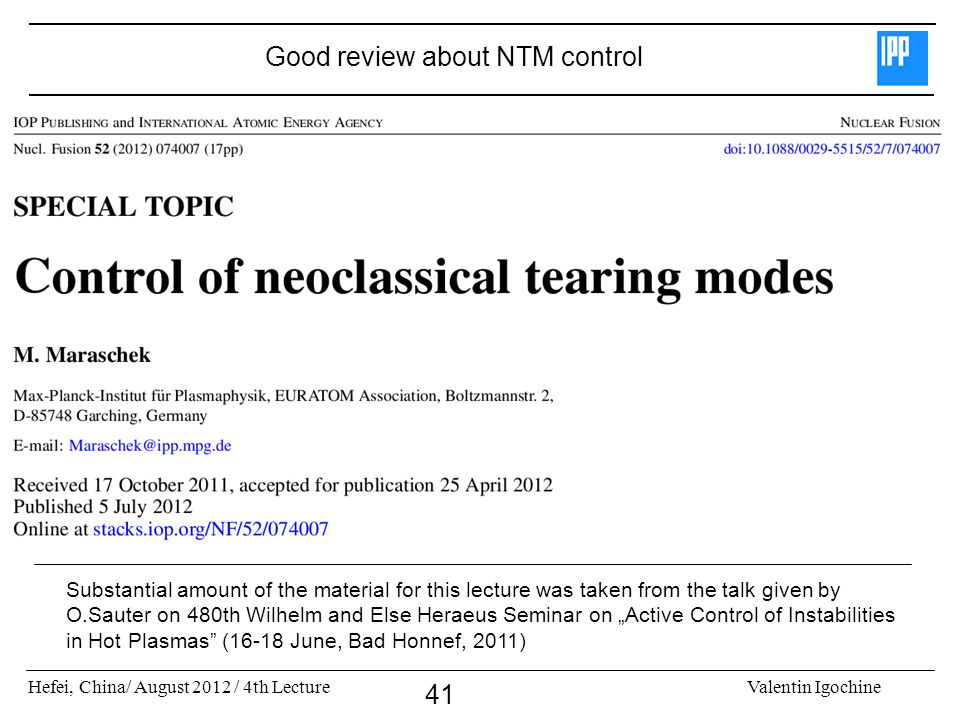 Good review about NTM control