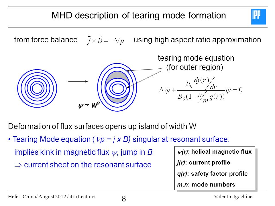 MHD description of tearing mode formation