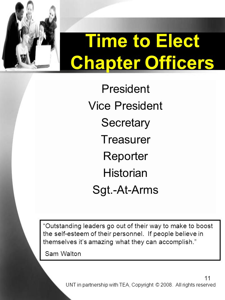 Time to Elect Chapter Officers