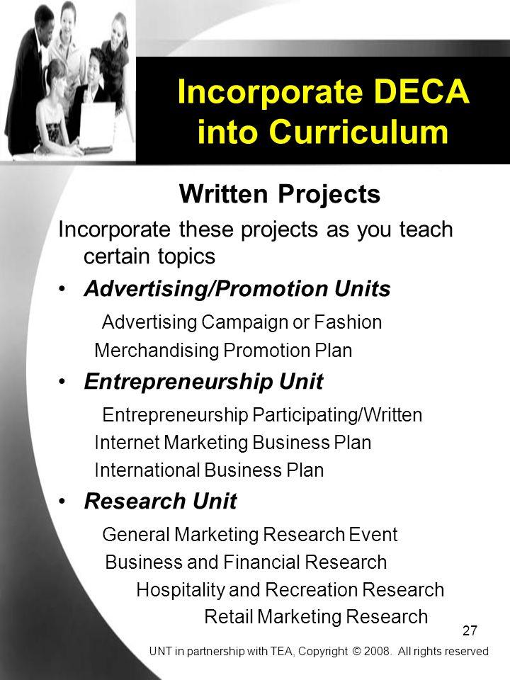 Incorporate DECA into Curriculum