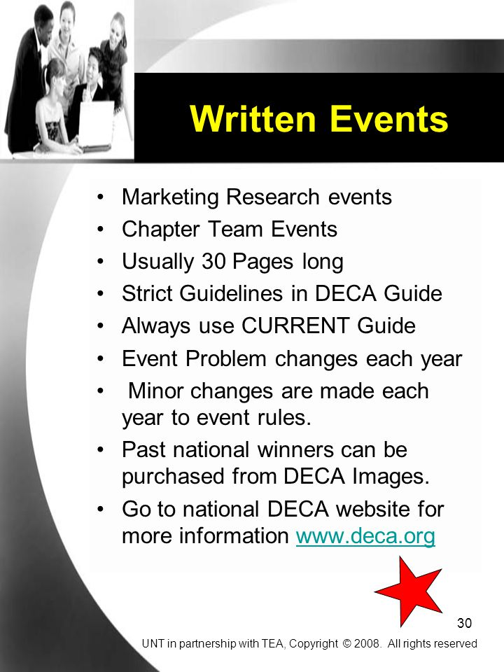 Written Events Marketing Research events Chapter Team Events