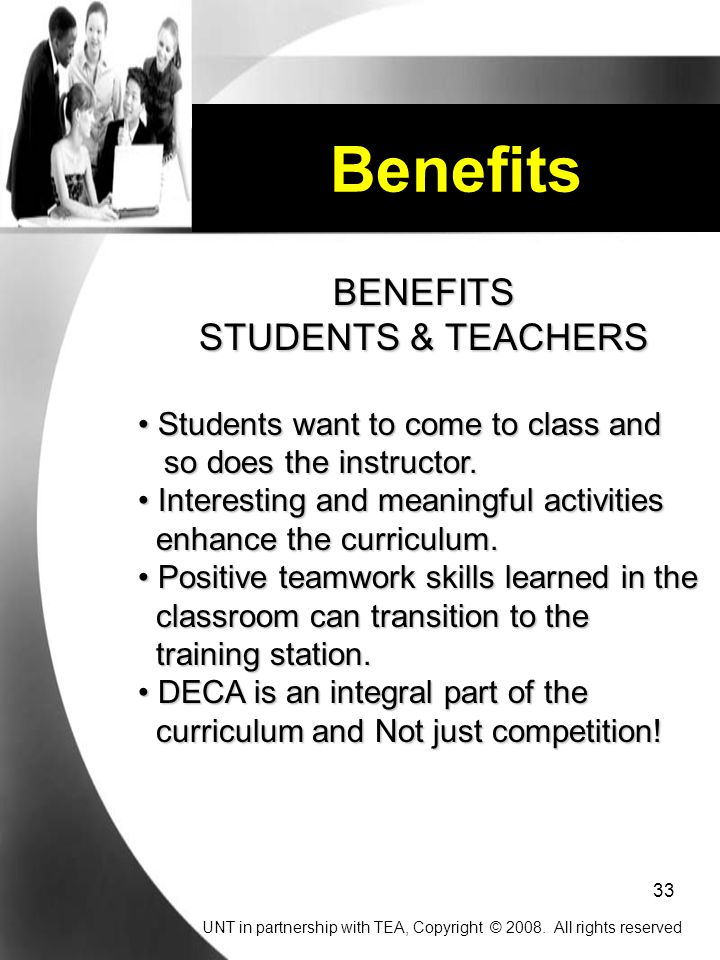 Benefits BENEFITS STUDENTS & TEACHERS