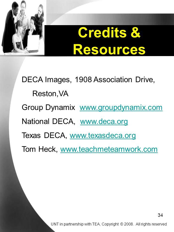 Credits & Resources DECA Images, 1908 Association Drive, Reston,VA