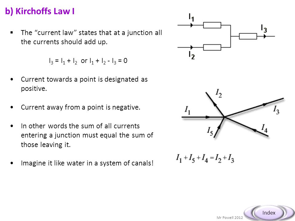 b) Kirchoffs Law I The current law states that at a junction all the currents should add up. I3 = I1 + I2 or I1 + I2 - I3 = 0.