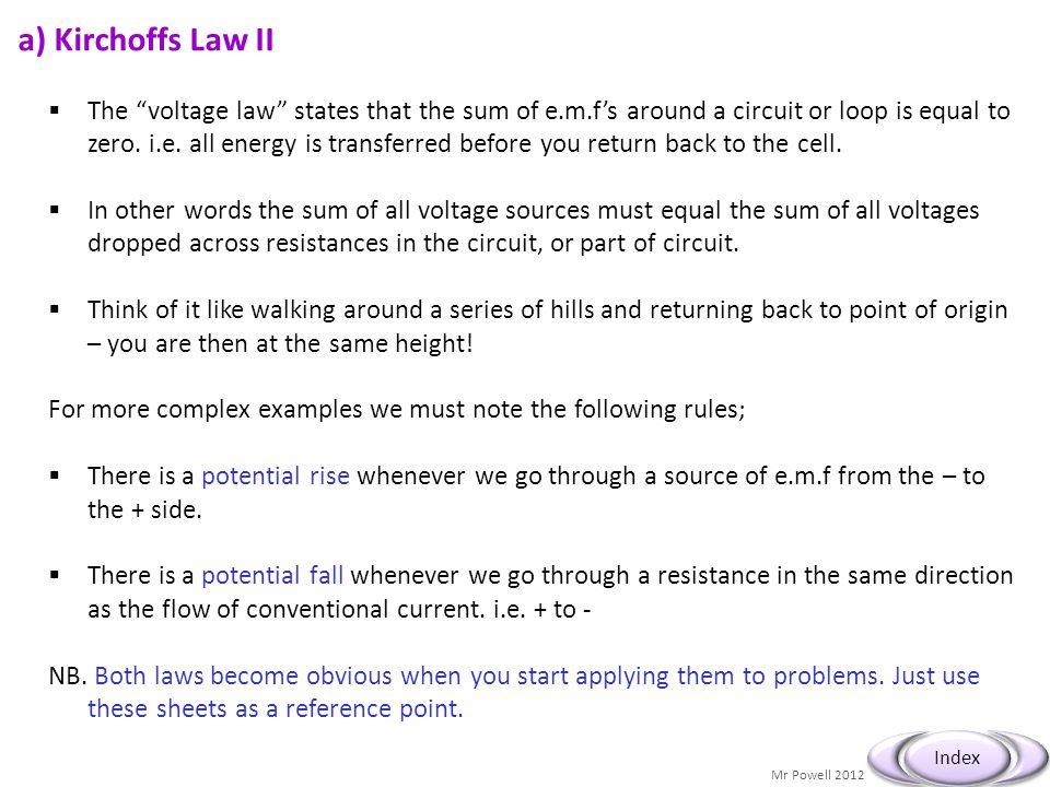 a) Kirchoffs Law II