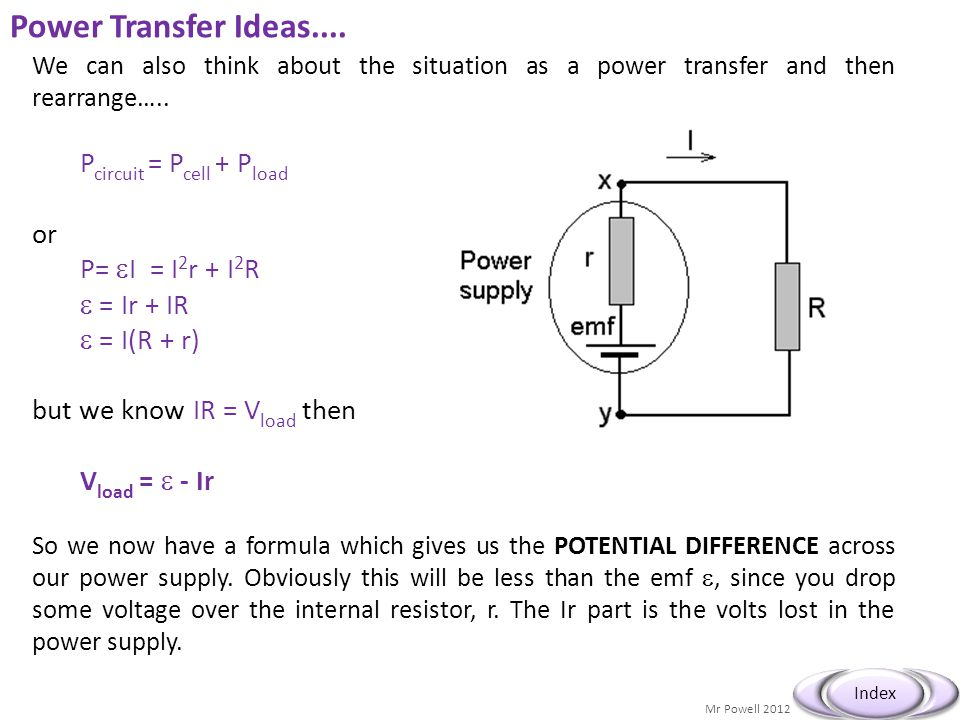 Power Transfer Ideas.... Pcircuit = Pcell + Pload or P= I = I2r + I2R