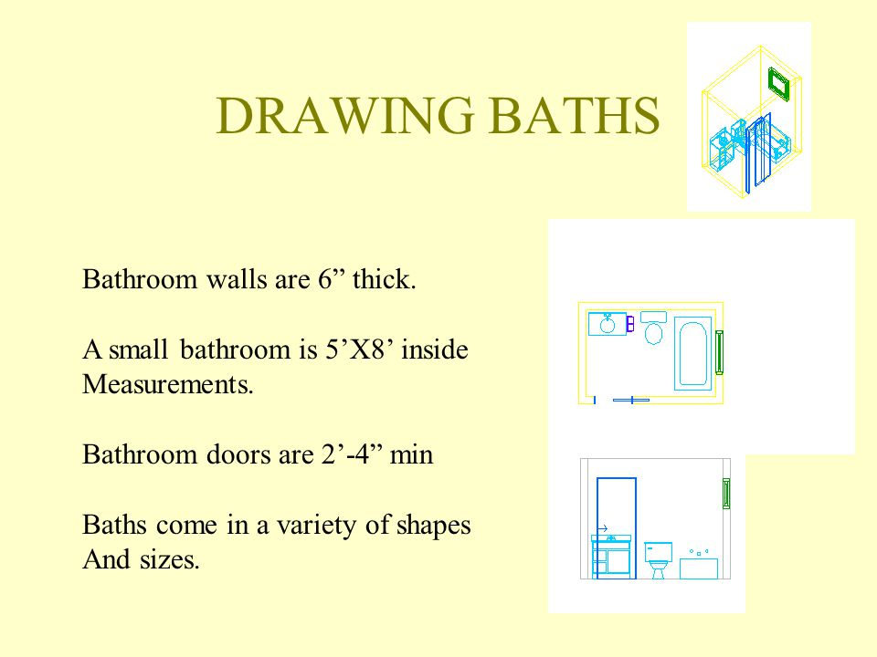 DRAWING BATHS Bathroom walls are 6 thick.