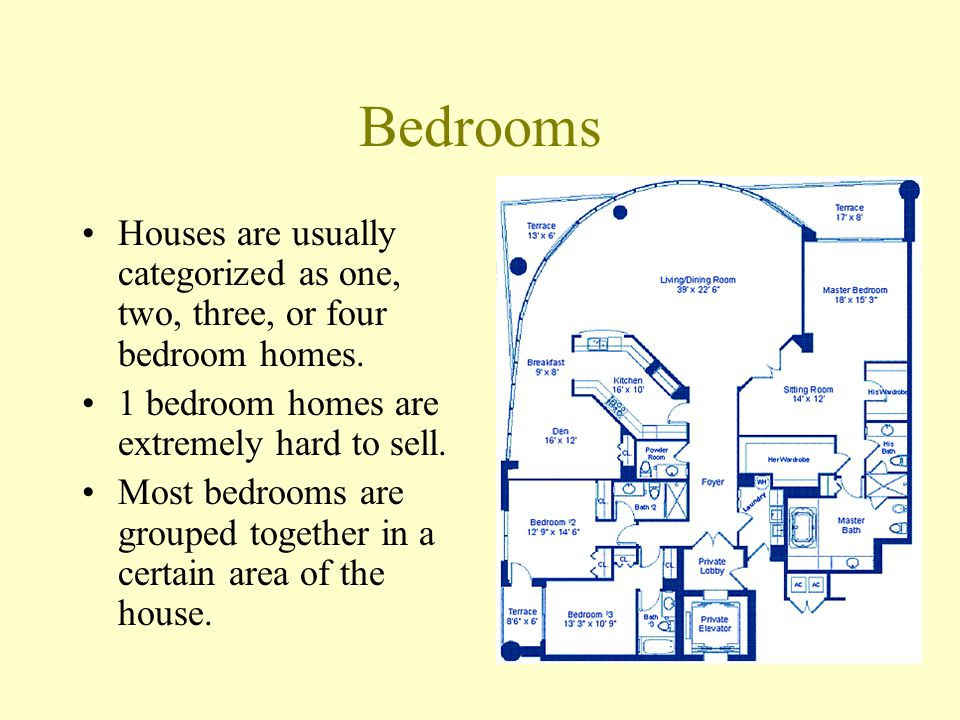 Bedrooms Houses are usually categorized as one, two, three, or four bedroom homes. 1 bedroom homes are extremely hard to sell.