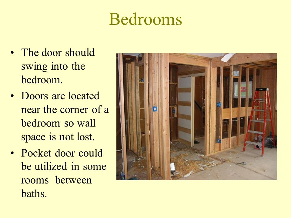 Bedrooms The door should swing into the bedroom.
