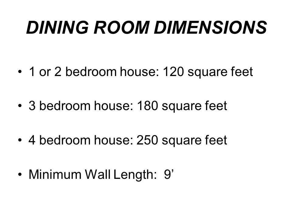 DINING ROOM DIMENSIONS