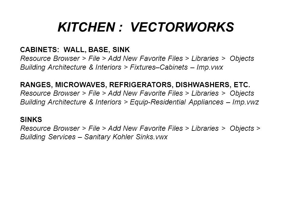 KITCHEN : VECTORWORKS CABINETS: WALL, BASE, SINK