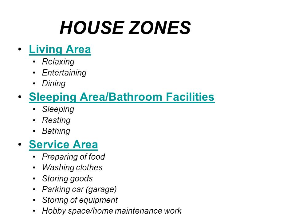 HOUSE ZONES Living Area Sleeping Area/Bathroom Facilities Service Area