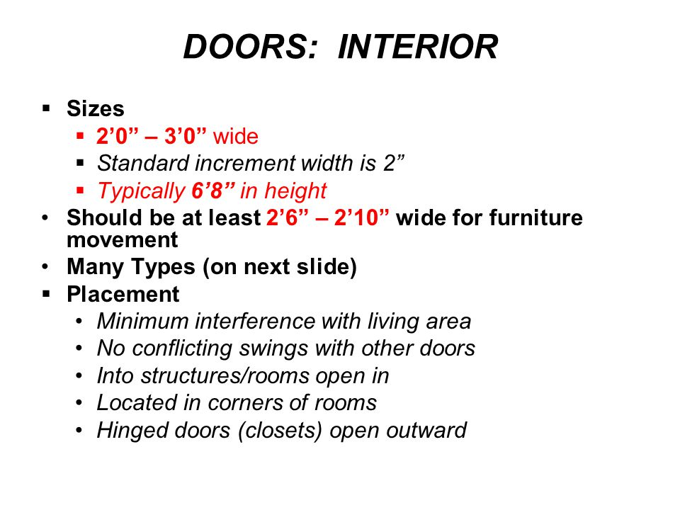 DOORS: INTERIOR Sizes 2'0 – 3'0 wide Standard increment width is 2