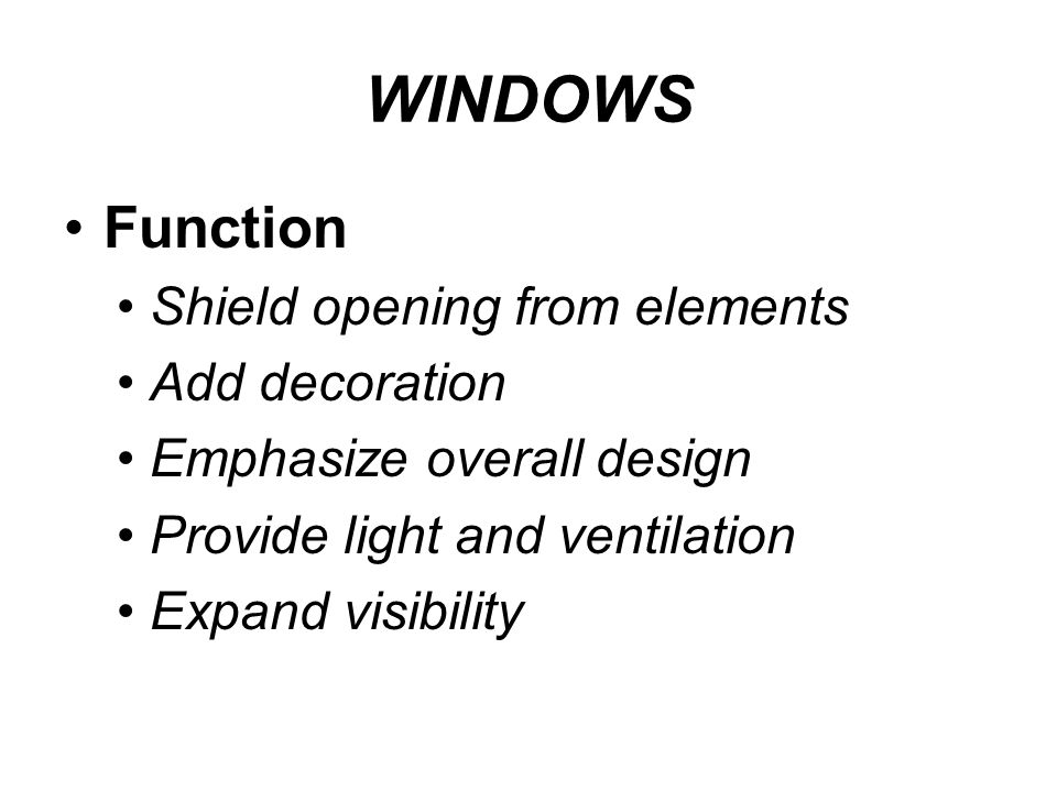 WINDOWS Function Shield opening from elements Add decoration