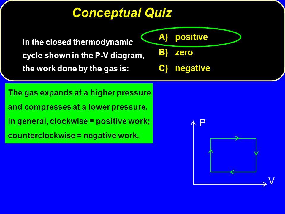 Conceptual Quiz P V A) positive B) zero C) negative