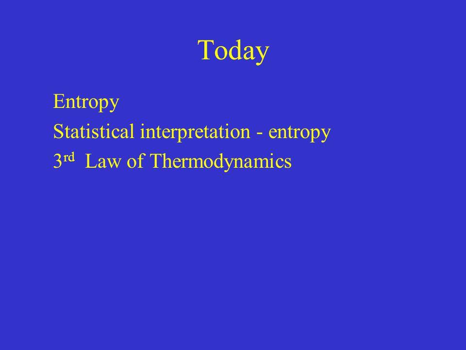 Entropy Statistical interpretation - entropy 3rd Law of Thermodynamics