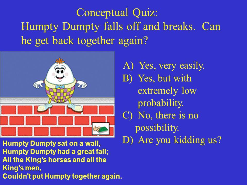 Conceptual Quiz: Humpty Dumpty falls off and breaks