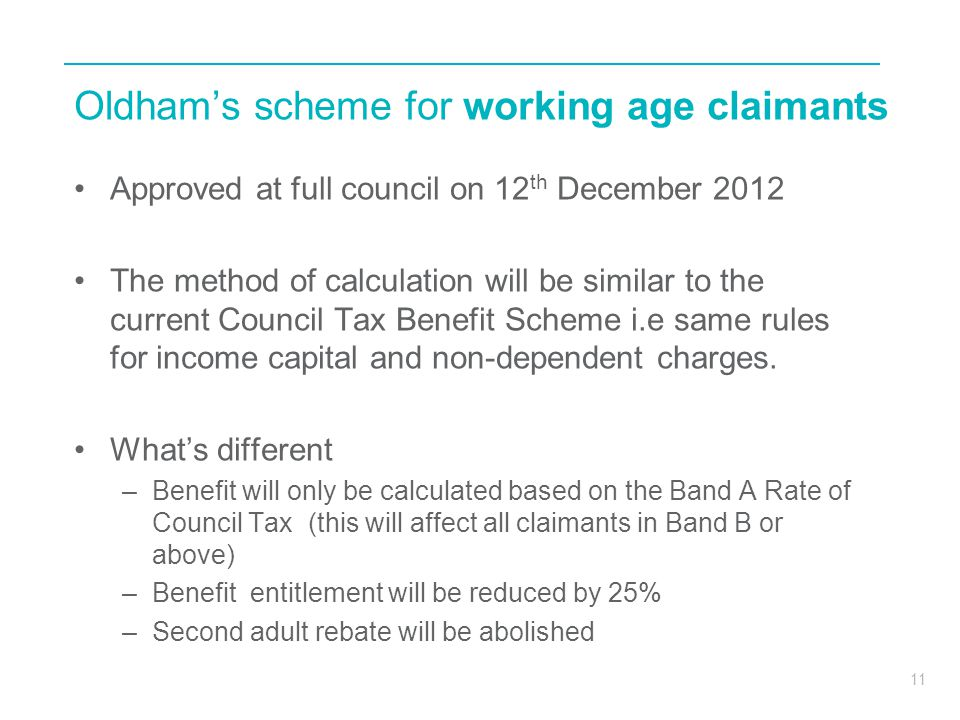 Oldham's scheme for working age claimants