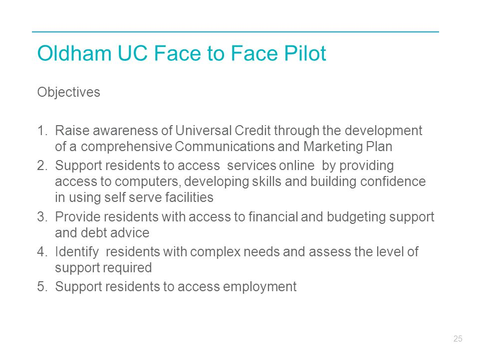 Oldham UC Face to Face Pilot