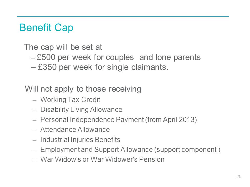 Benefit Cap £350 per week for single claimants.