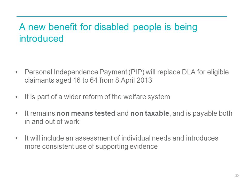 A new benefit for disabled people is being introduced