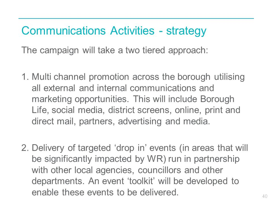 Communications Activities - strategy
