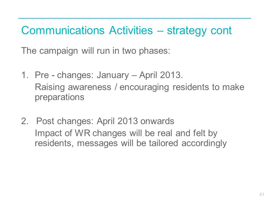 Communications Activities – strategy cont