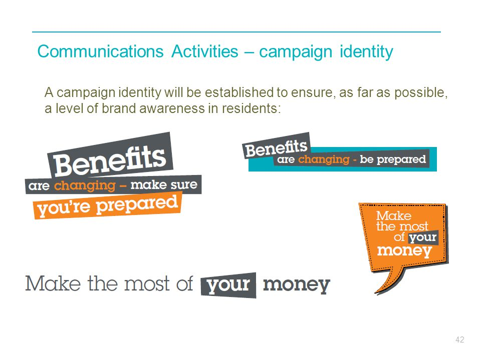 Communications Activities – campaign identity