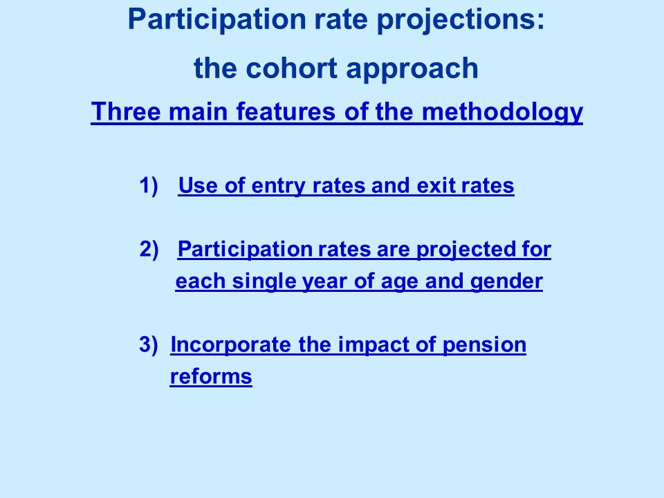 Participation rate projections: the cohort approach