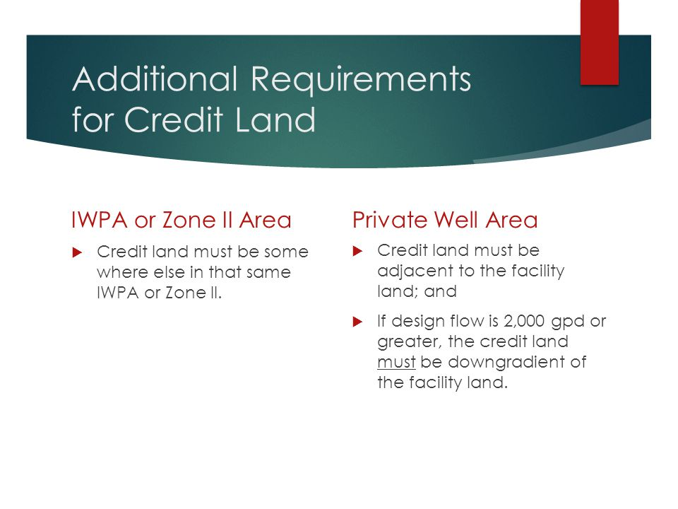 Additional Requirements for Credit Land