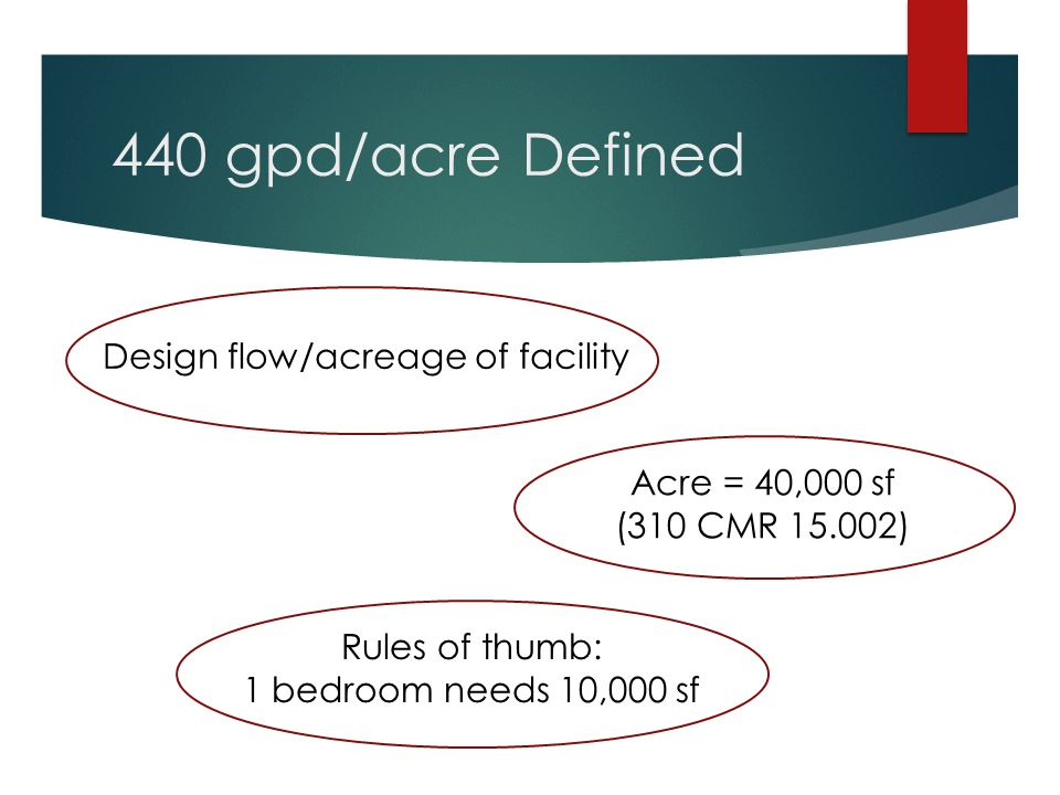 440 gpd/acre Defined Design flow/acreage of facility Acre = 40,000 sf