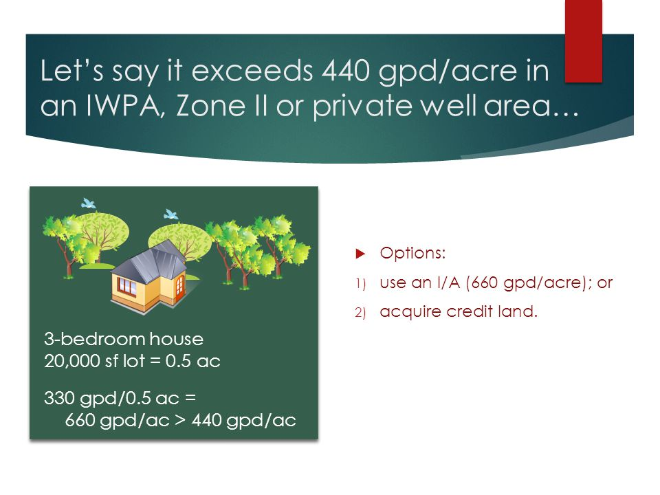 Let's say it exceeds 440 gpd/acre in an IWPA, Zone II or private well area…