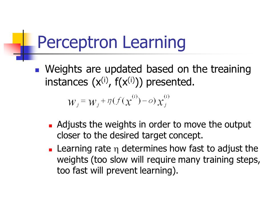 Perceptron Learning Weights are updated based on the treaining instances (x(i), f(x(i))) presented.