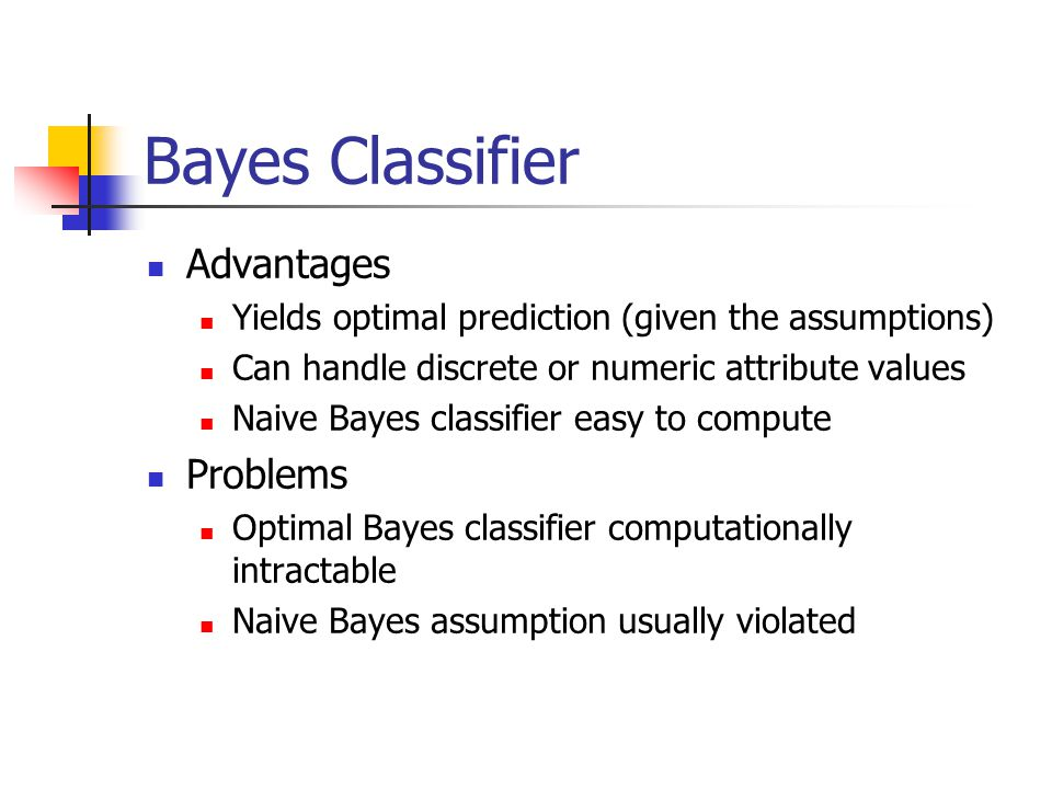 Bayes Classifier Advantages Problems