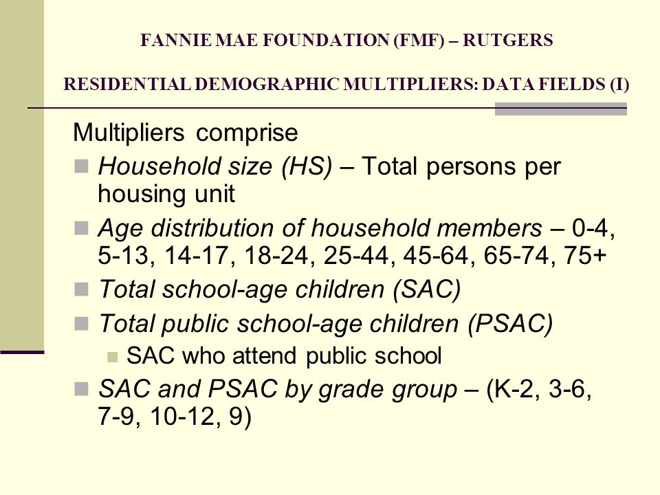 Household size (HS) – Total persons per housing unit