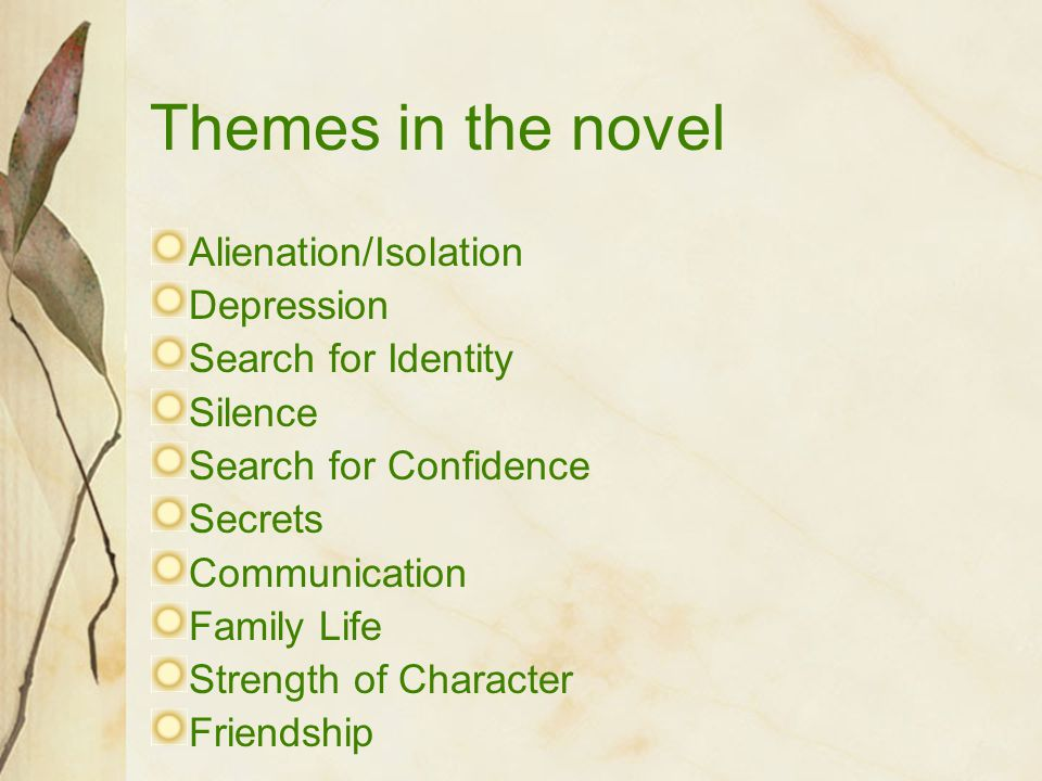 Themes in the novel Alienation/Isolation Depression