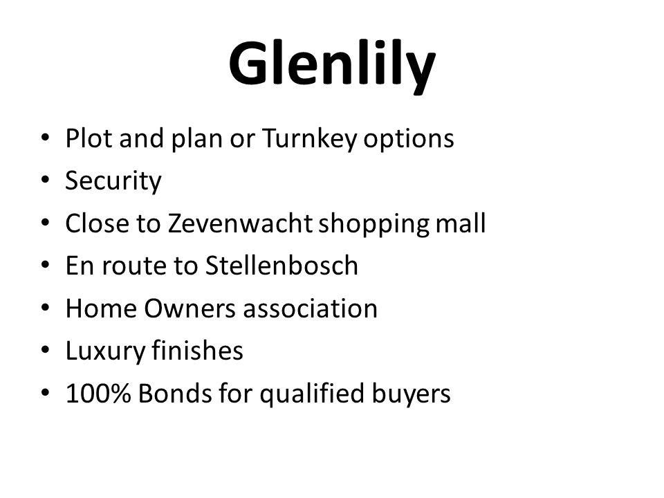 Glenlily Plot and plan or Turnkey options Security