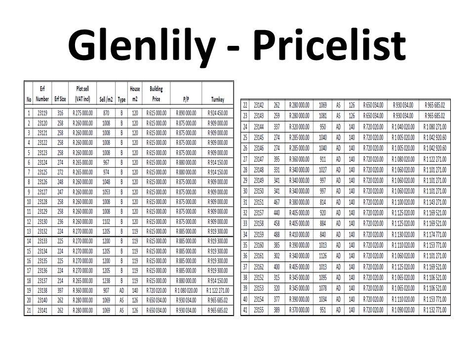 Glenlily - Pricelist